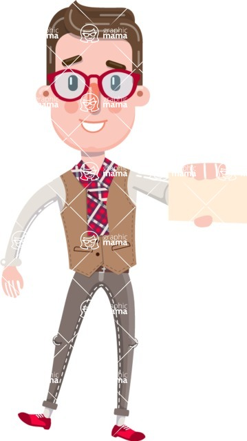 Smart Office Man Cartoon Character in Flat Style - with a Blank Business card
