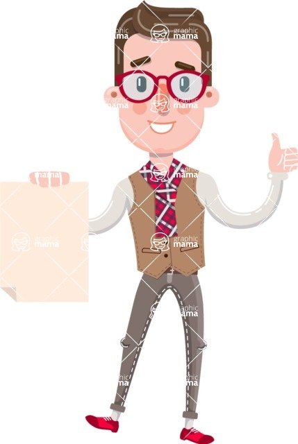 Smart Office Man Cartoon Character in Flat Style - with a Blank paper