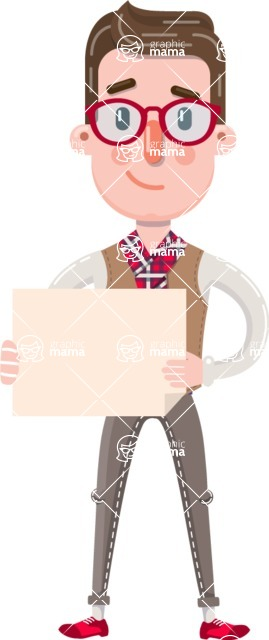 Smart Office Man Cartoon Character in Flat Style - Holding a Blank sign
