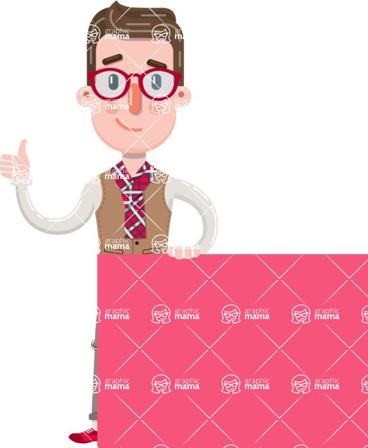 Smart Office Man Cartoon Character in Flat Style - Holding a Blank sign and Pointing