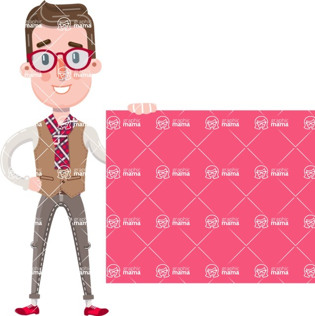 Smart Office Man Cartoon Character in Flat Style - Showing Big Blank banner