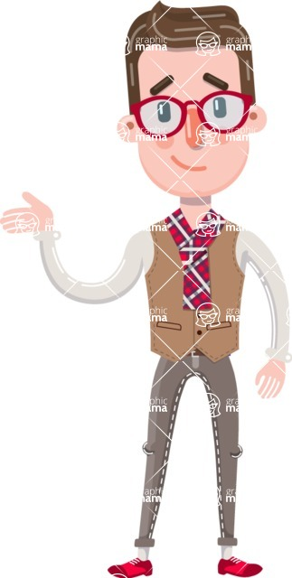 Smart Office Man Cartoon Character in Flat Style - Feeling sorry