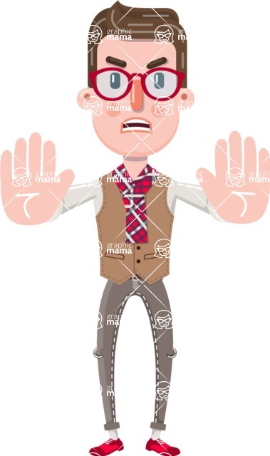 Smart Office Man Cartoon Character in Flat Style - Making stop gesture with both hands