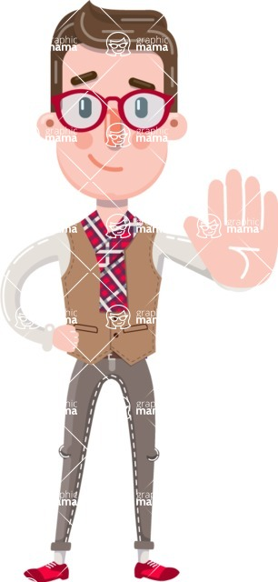 Smart Office Man Cartoon Character in Flat Style - Making stop with a hand