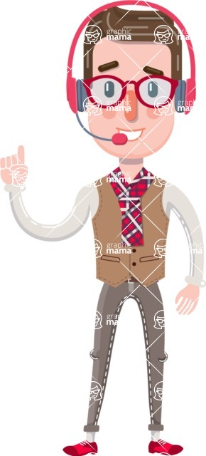 Smart Office Man Cartoon Character in Flat Style - Talking on phone