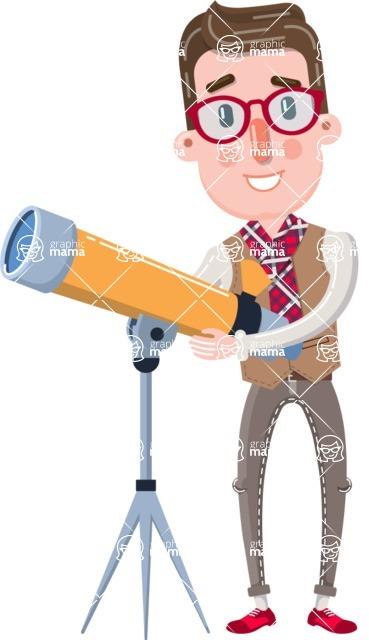 Smart Office Man Cartoon Character in Flat Style - Looking through telescope