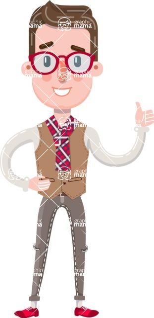 Smart Office Man Cartoon Character in Flat Style - Making Thumbs Up