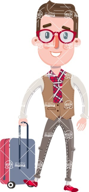 Smart Office Man Cartoon Character in Flat Style - with Suitcase