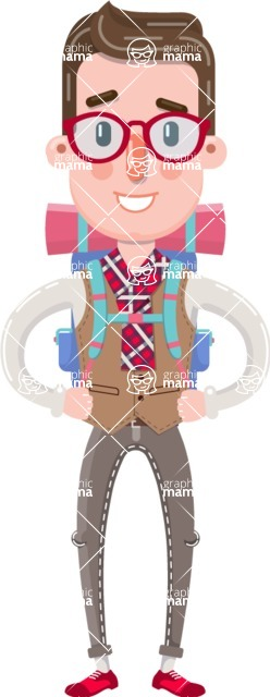 Smart Office Man Cartoon Character in Flat Style - Traveling