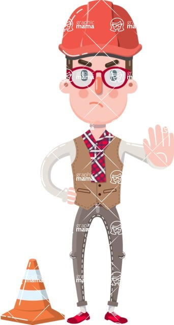 Smart Office Man Cartoon Character in Flat Style - as a Construction worker