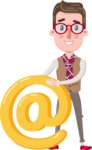 Smart Office Man Cartoon Character in Flat Style - with Email sign