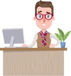 Smart Office Man Cartoon Character in Flat Style - Sitting at desk