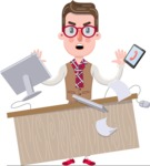 Smart Office Man Cartoon Character in Flat Style - Stressed out
