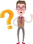 Smart Office Man Cartoon Character in Flat Style - with Question mark
