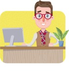 Smart Office Man Cartoon Character in Flat Style - Shape 3