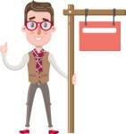 Smart Office Man Cartoon Character in Flat Style - with Blank Real estate sign