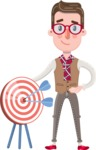 Smart Office Man Cartoon Character in Flat Style - with Target