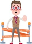 Smart Office Man Cartoon Character in Flat Style - with Under Construction sign