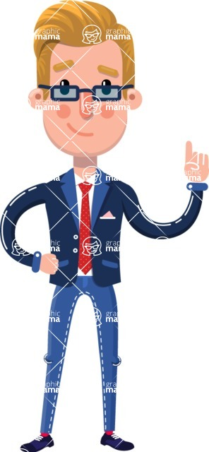Businessman Cartoon Character in Flat Style - Making a point