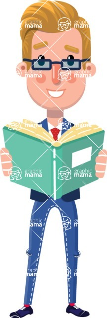 Businessman Cartoon Character in Flat Style - Reading a book