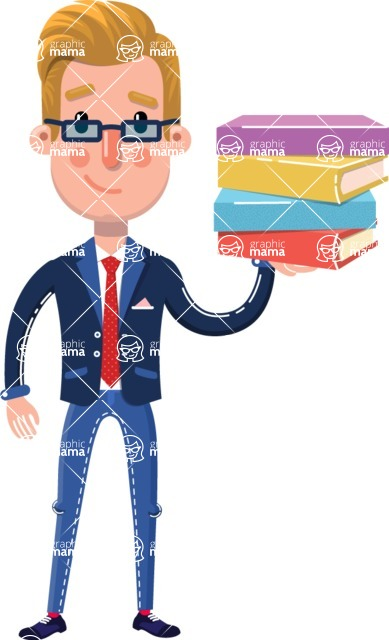 Businessman Cartoon Character in Flat Style - with Books