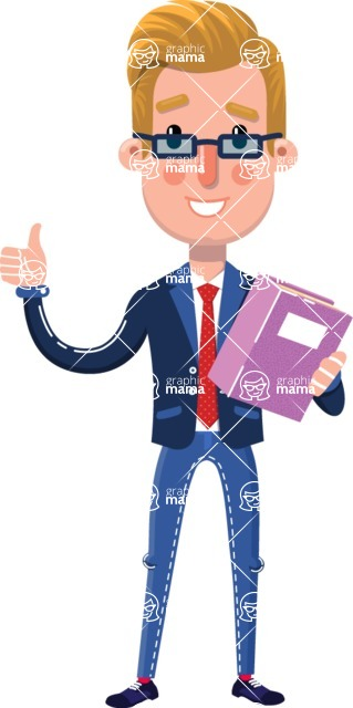 Businessman Cartoon Character in Flat Style - Holding a book