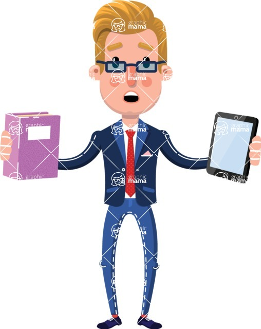 Businessman Cartoon Character in Flat Style - Choosing between Book and Tablet