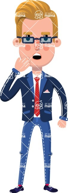 Businessman Cartoon Character in Flat Style - Yawning