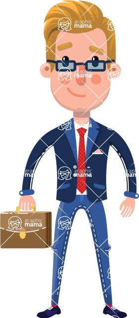 Businessman Cartoon Character in Flat Style - with Briefcase