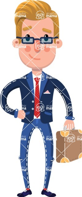 Businessman Cartoon Character in Flat Style - Holding a briefcase