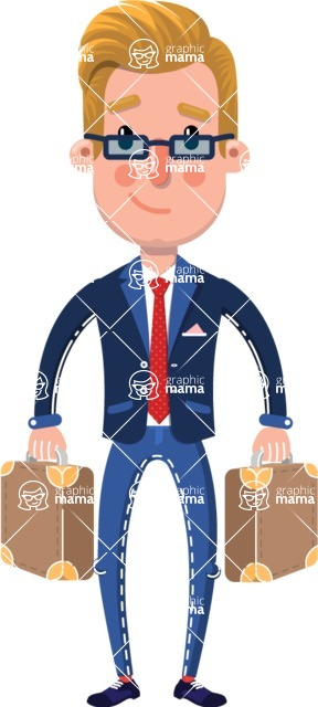 Businessman Cartoon Character in Flat Style - with Two briefcases