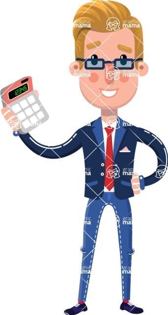 Businessman Cartoon Character in Flat Style - with Calculator