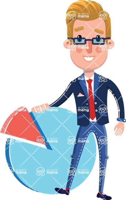 Businessman Cartoon Character in Flat Style - with Business graph