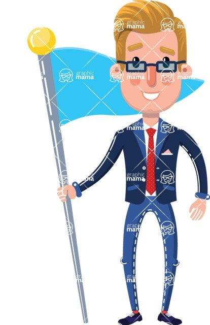 Businessman Cartoon Character in Flat Style - with Flag