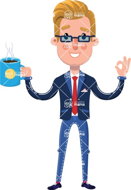 Businessman Cartoon Character in Flat Style - Drinking Coffee