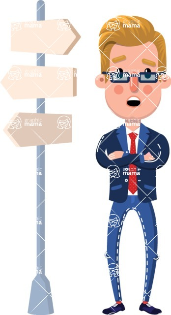 Businessman Cartoon Character in Flat Style - on a Crossroad with sign pointing in all directions