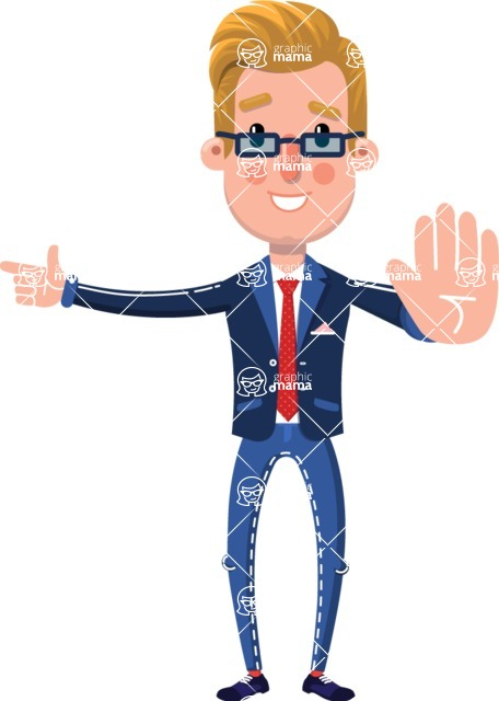Businessman Cartoon Character in Flat Style - Pointing with a fnger