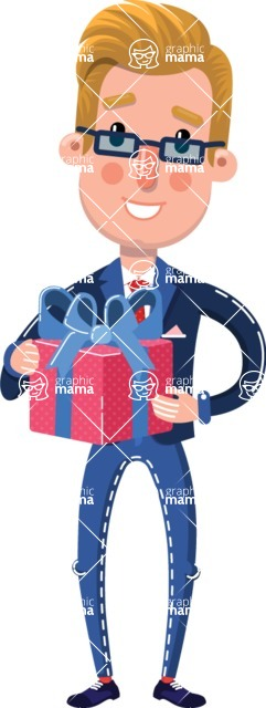 Businessman Cartoon Character in Flat Style - with Gift box