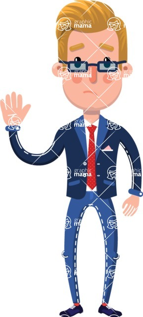 Businessman Cartoon Character in Flat Style - Waving for Goodbye with a hand