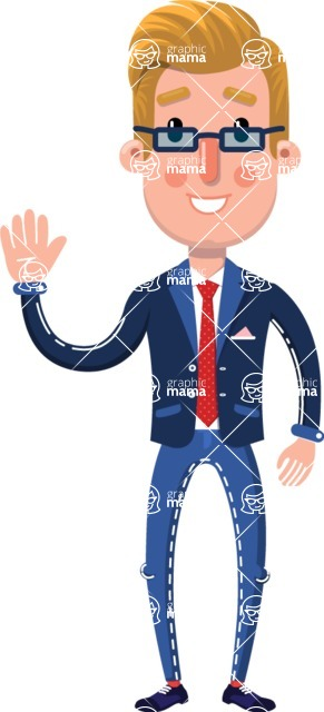Businessman Cartoon Character in Flat Style - Waving for Hello with a hand