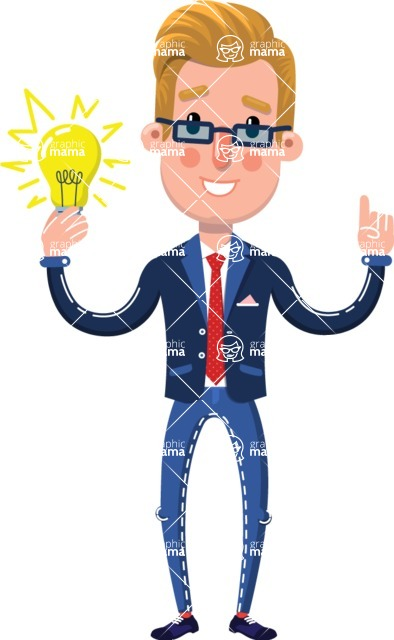 Businessman Cartoon Character in Flat Style - with an Idea