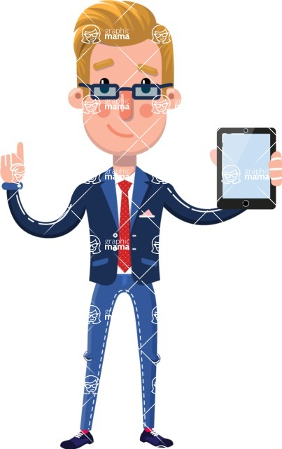 Businessman Cartoon Character in Flat Style - Holding tablet