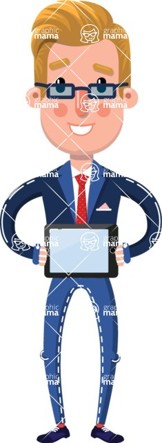 Businessman Cartoon Character in Flat Style - Showing tablet