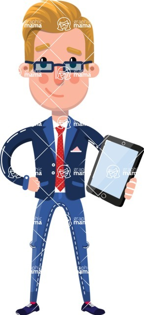 Businessman Cartoon Character in Flat Style - Holding an iPad