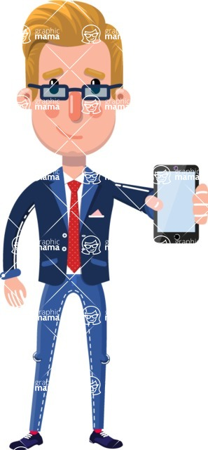 Businessman Cartoon Character in Flat Style - Holding a smartphone