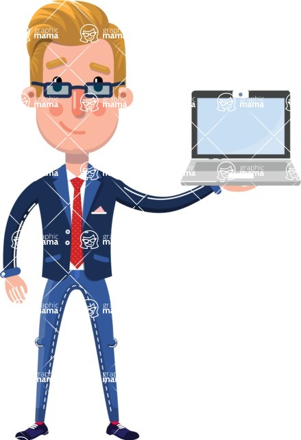 Businessman Cartoon Character in Flat Style - Showing a laptop
