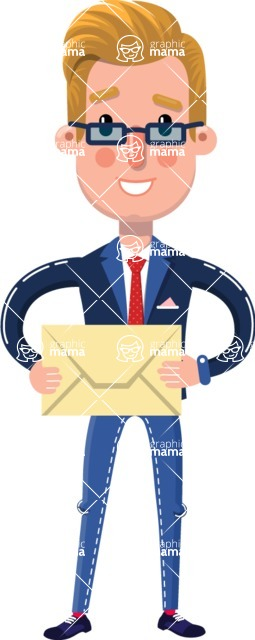 Businessman Cartoon Character in Flat Style - Holding mail envelope