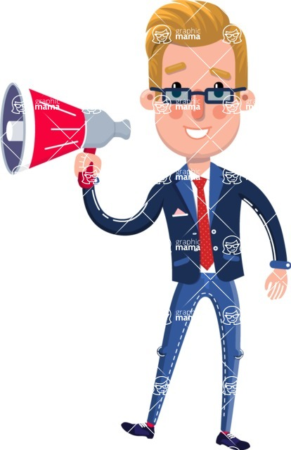 Businessman Cartoon Character in Flat Style - Holding a Loudspeaker