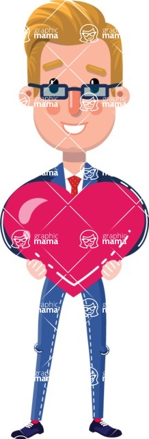 Businessman Cartoon Character in Flat Style - Holding heart