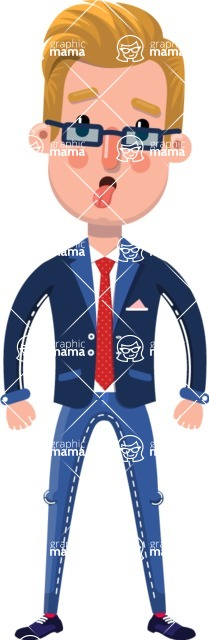 Businessman Cartoon Character in Flat Style - Making Funny face